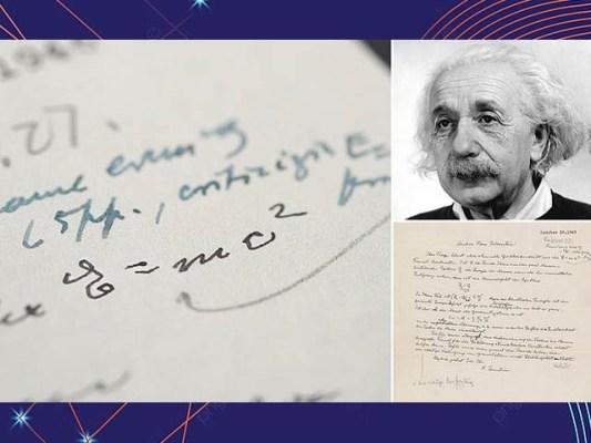 تصویر میں آئن اسٹائن کا خط نمایاں ہے جس پر توانائی اور کمیت کی مساوات تحریر ہے۔ فوٹو: گارجیئن