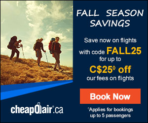 Fall Season Savings Save now on future fall flights with special code FALL25 for up to C$25 off our fees on flights. Book Today!