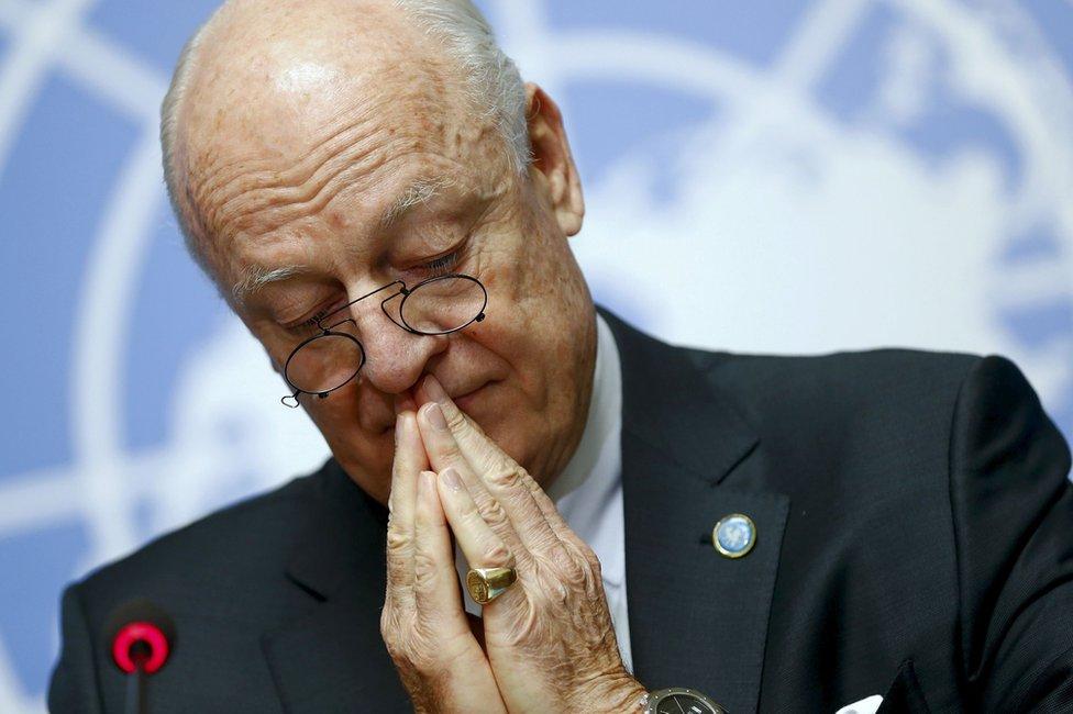 """Steffan de Mistura, el enviado de la ONU para Siria, describió el fracaso de las últimas conversaciones en septiembre como """"doloroso y decepcionante""""."""