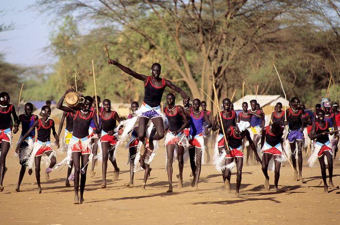 A Sudanese tribal dance at Kakuma refugee camp