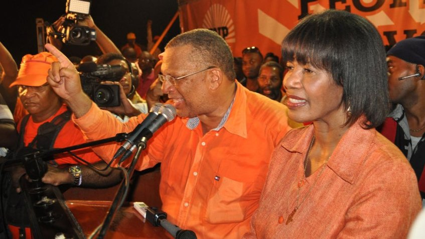 Peter Philips addresses supporters on election night on 29 December 2011 in Kingston