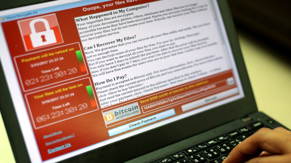 The Wannacry ransomware is seen on this computer