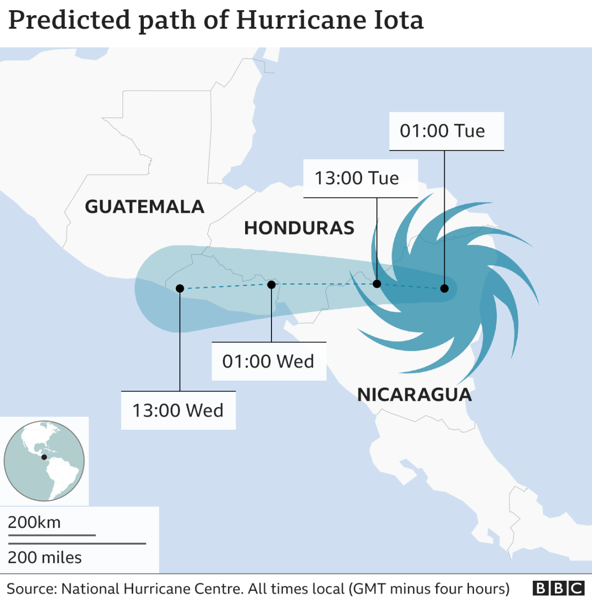 Map of Hurricane Iota's path