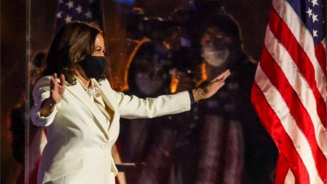 Kamala Harris arrives on stage