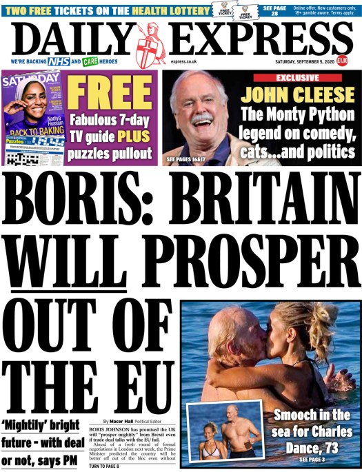 The Daily Express front page 5 September 2020