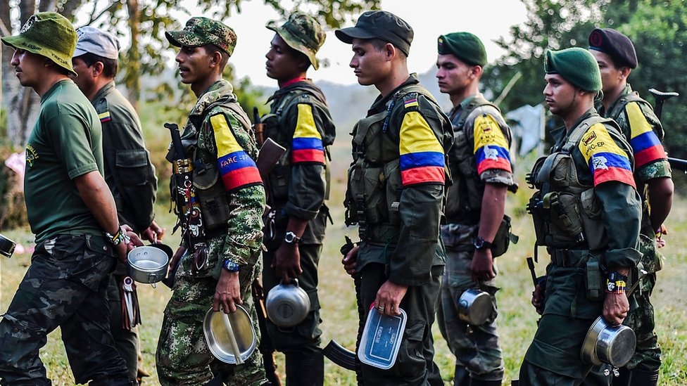 Un grupo de guerrilleros de las FARC en vísperas de la firma de los acuerdos.