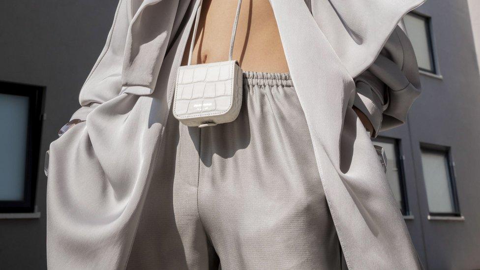 Model wears Armani at Milan Fashion Week 2021