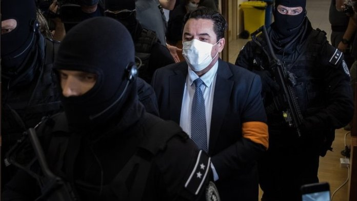 Businessman Marian Kocner (centre) arrives in court in Pezinok, Slovakia. Photo: 3 September 2020