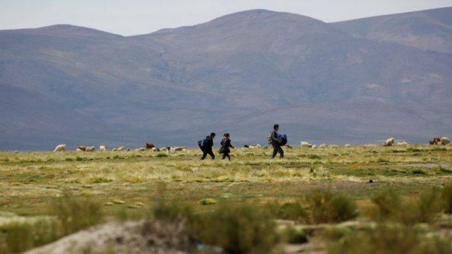 Muchos migrantes se arriesgan a cruzar el desierto en la frontera entre Bolivia y Chile.