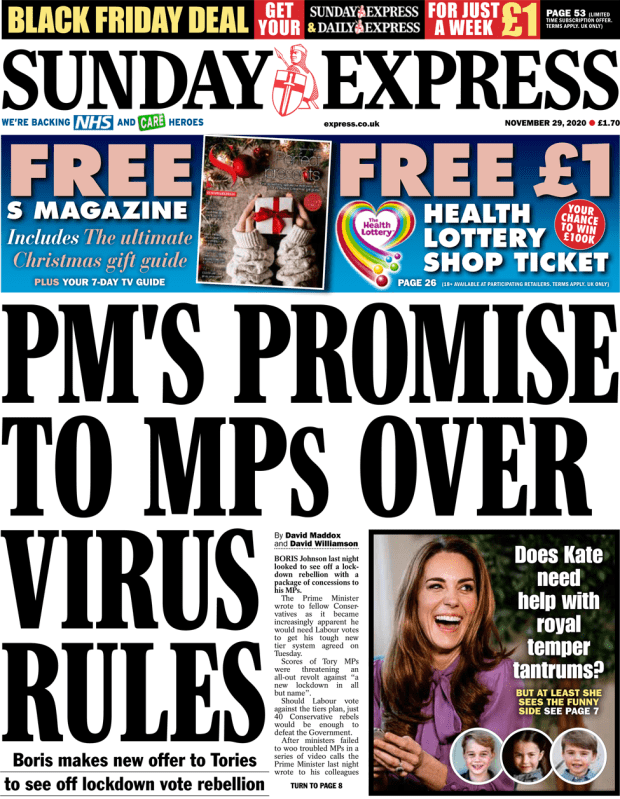 The Sunday Express front page 29 November 2020