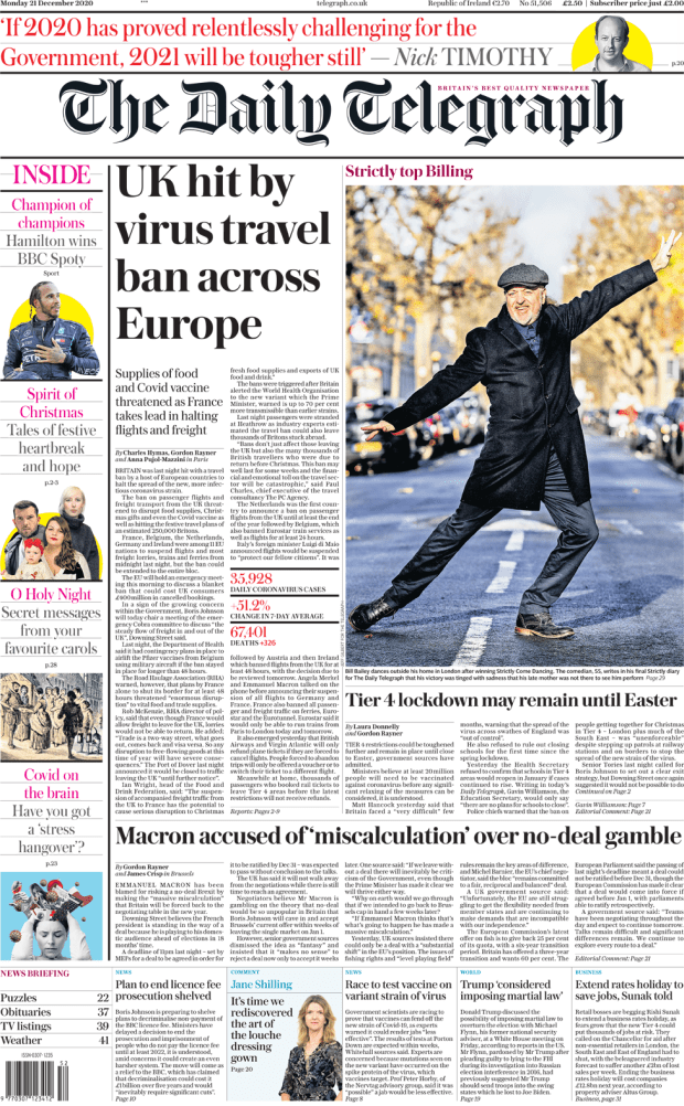 The Daily Telegraph front page 21 December 2020