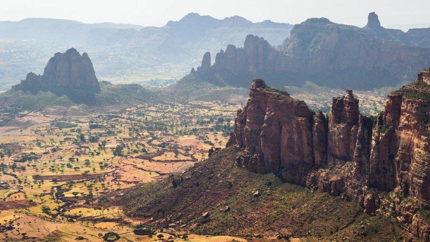 A mountainous landscape in Tigray, Ethiopia