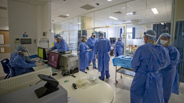 Staff on an intensive care ward in Merseyside
