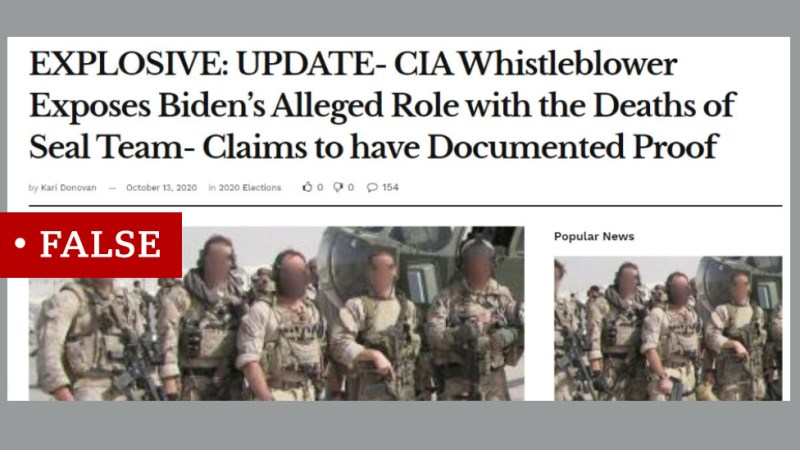 """A screen shot from a news website labelled """"False"""". They headline says: """"EXPLOSIVE: UPDATE- CIA Whistleblower Exposes Biden's Alleged Role with the Deaths of Seal Team Claims to have Documented Proof"""""""