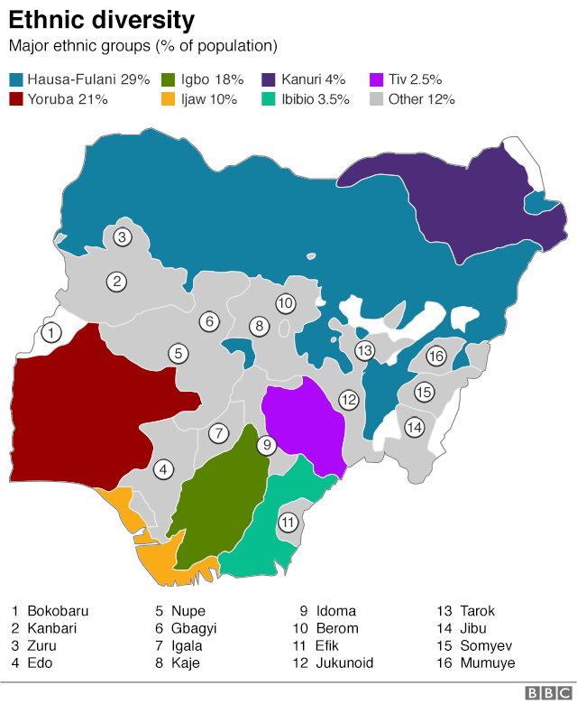 Map showing ethnic breakdown in the country