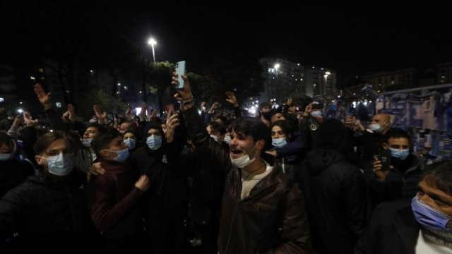 Fans outside the San Paolo stadium in Naples - 26 November