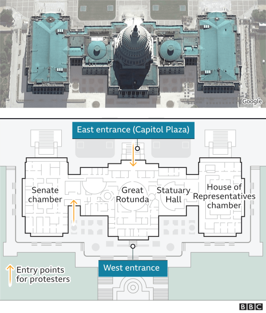 Map showing key locations at the Capitol building