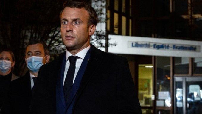 President Macron speaking from the scene
