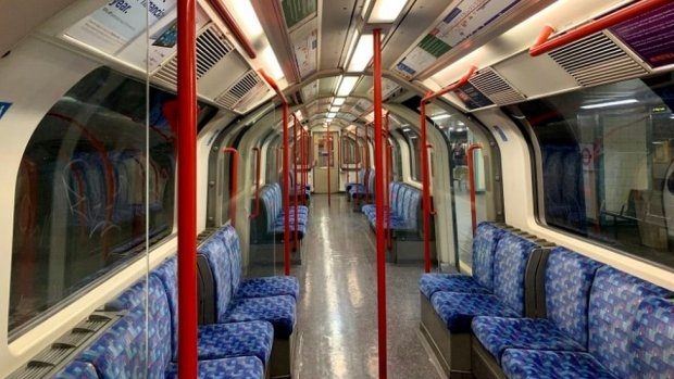An empty Tube carriage, taken Wednesday 8 April, 1442pm.