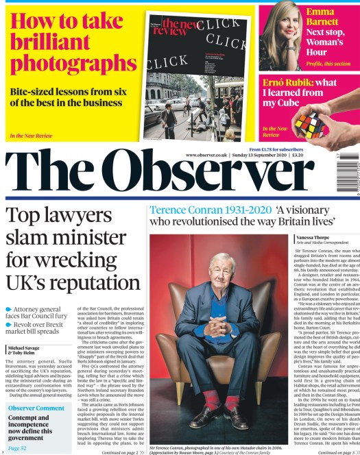 The Observer front page 13 September