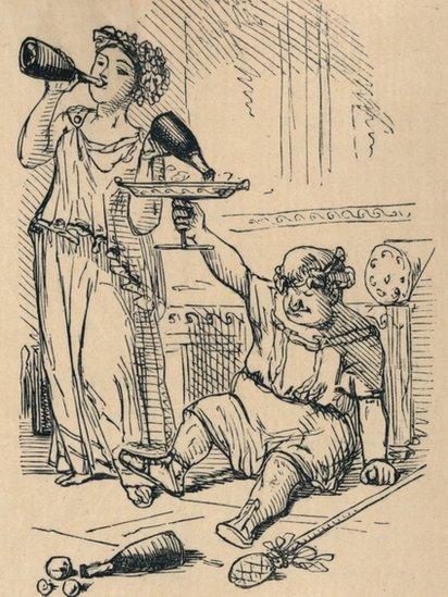Bacchanalian Group, 1852, ilustración de John Leech