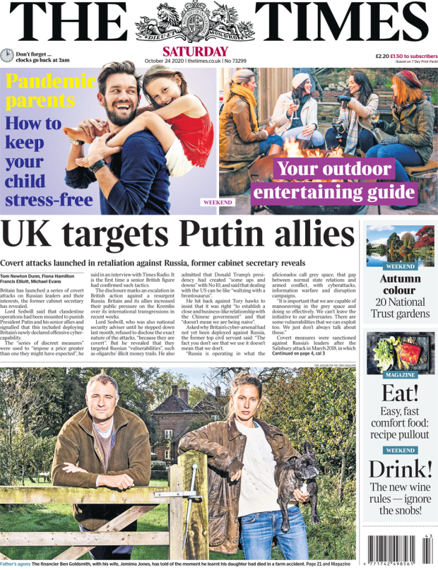 The Times front page 24 October