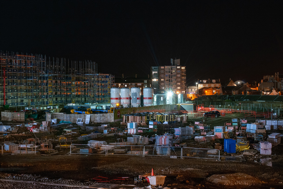 Building site at night