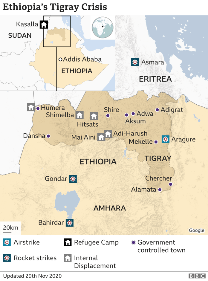 Map of the Tigray region