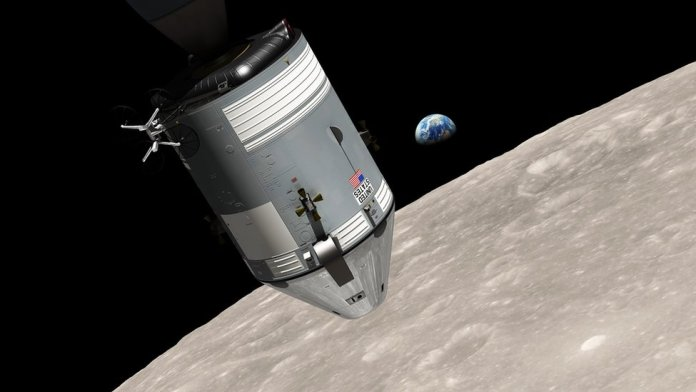 Illustration showing the lunar form of Apollo 8 on the lunar surface with the blue Earth in the background