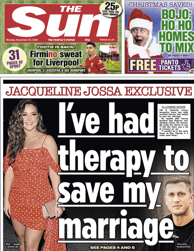 The Sun front page 23 November