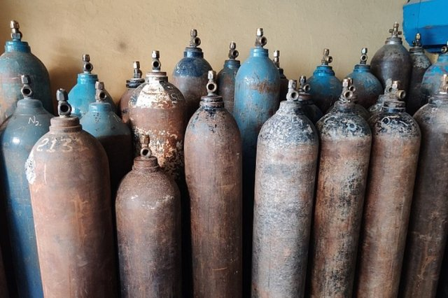 Oxygen cylinders in India. File photo