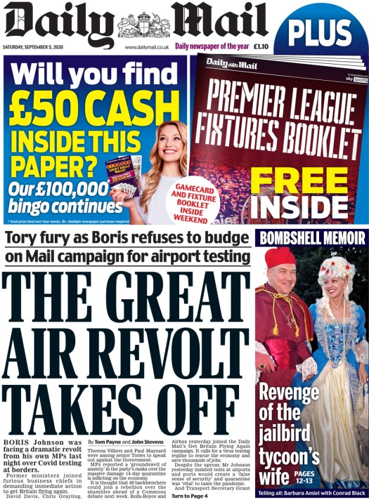 The Daily Mail front page 5 September 2020