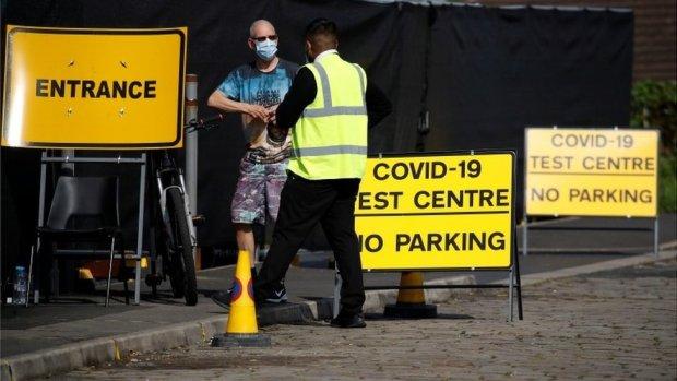 Covid-19 test centre in Bolton