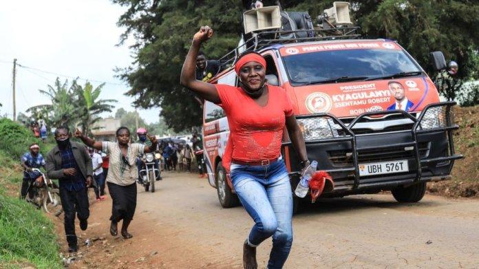 A Bobi Wine supporter at a presidential rally in Uganda, November 2020