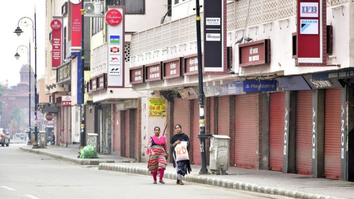 A view of closed shops near Goal Hatti Chowk during the weekend lockdown imposed on September 6 in Amritsar, Punjab.