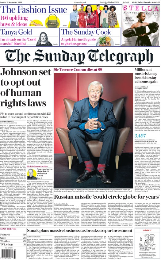 The Sunday Telegraph front page 13 September