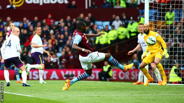 Christian Benteke scored twice for Aston Villa against Everton last season.