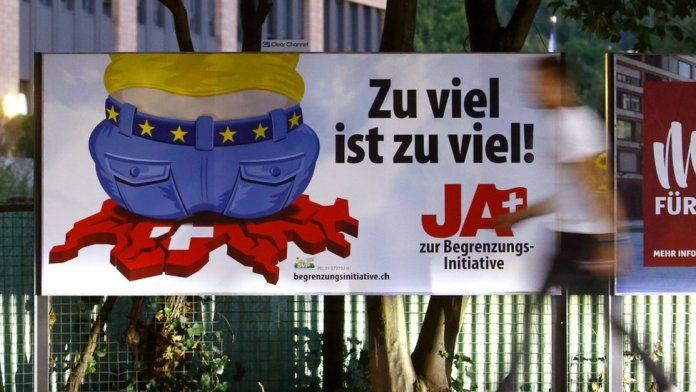 """Poster for the Swiss People's Party in Zurich to read: """"Enough is enough!"""""""