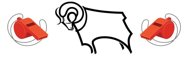 """Illustration of football whistles and the Derby County """"Rams"""" logo"""