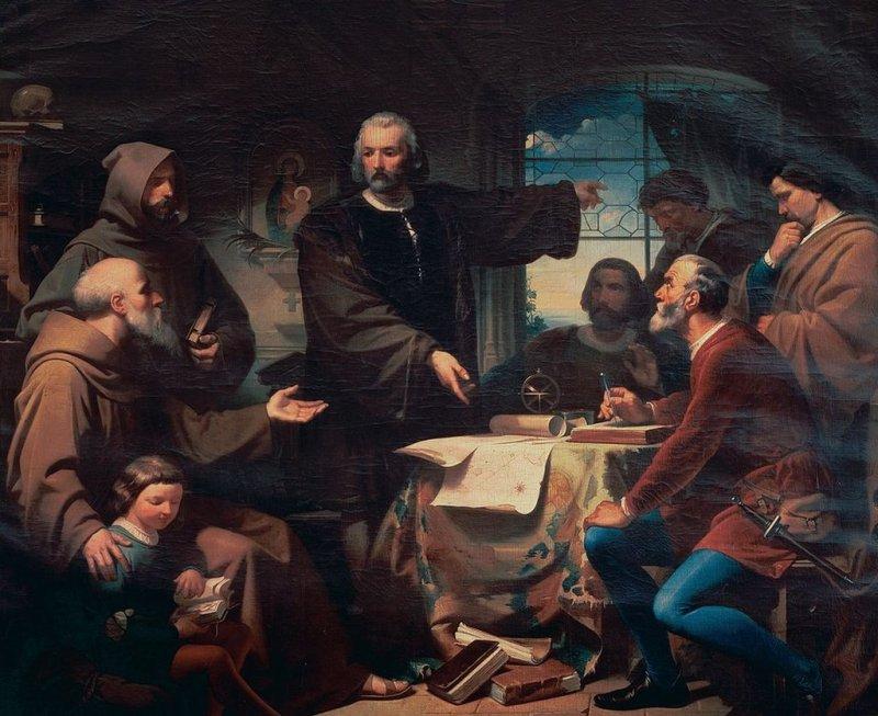 Colón en el convento de La Rábida. Pintura de Eduardo Cano de la Pena de 1872.
