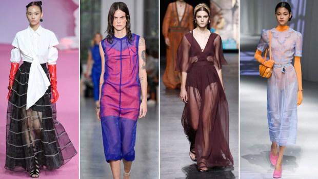 L-R: Models wearing Chicco Mao Sportmax, Dior, Fendi
