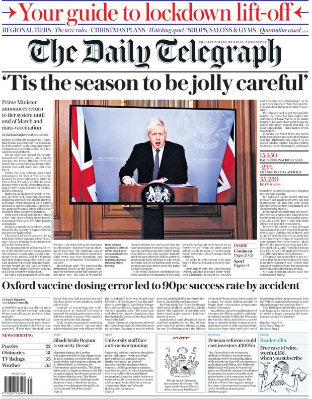 The Daily Telegraph front page 23 November