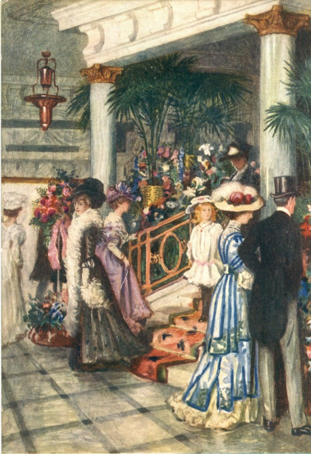 A colourful postcard showing shoppers in a Debenhams store