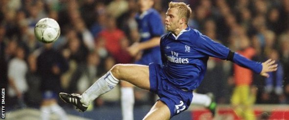 Eidur Gudjohnsen of Chelsea has a header on target during the Uefa Cup first round first leg match against Levski Sofia played at Stamford Bridge, in London. Chelsea won the match 3-0.