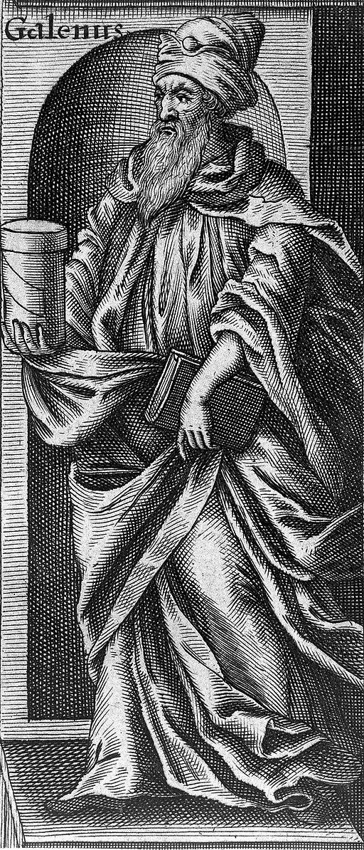 Grabado anónimo del siglo XVII que representa a Galeno sosteniendo un libro y un frasco con ungüento. (Foto: Welcome Images vía Wikimedia Commons)