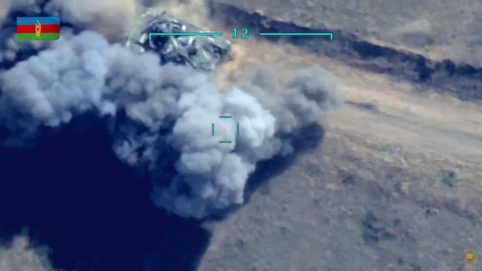 Azerbaijan still of tank being attacked on 30 September