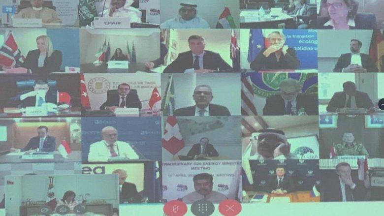 Pantalla de la videoconferencia de la OPEP+