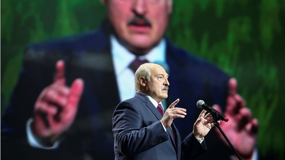 Belarusian President Alexander Lukashenko addresses a crowd