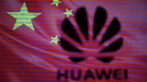 An illustration showing a Huawei logo, the Chinese flag and cyber code