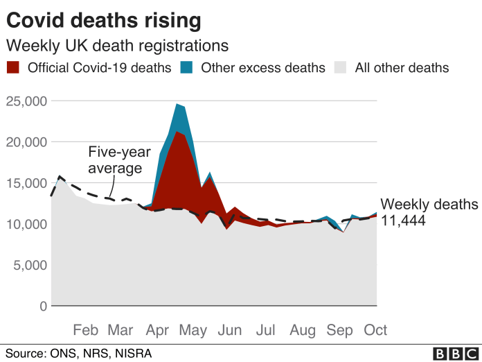 Chart showing excess deaths since the start of 2020